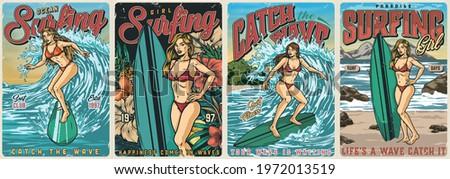 ocean surfing vintage colorful