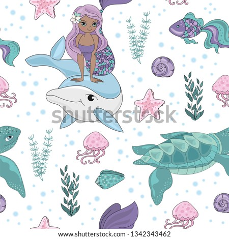 OCEAN TALE Mermaid Princess Girl Underwater Tropical Ocean Travel Cruise Seamless Pattern Vector Illustration