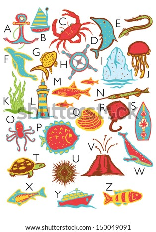 ocean theme alphabet with only