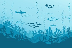 Ocean Underwater Background with Fishes, Sea plants and Reefs. Vector
