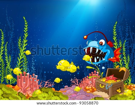Ocean Underwater Cartoon. Coral Reef with Alga and Fish. Vector.