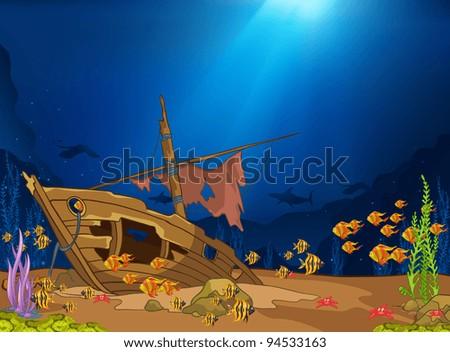 ocean underwater world cartoon