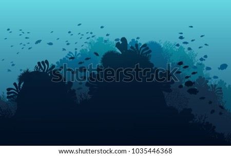 Ocean underwater world with animals, vector illustration