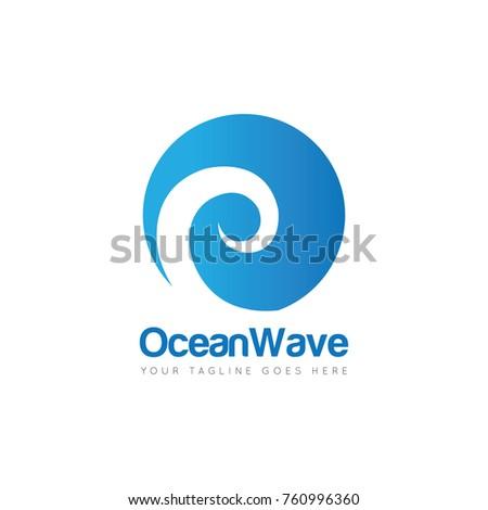 ocean wave logo design template