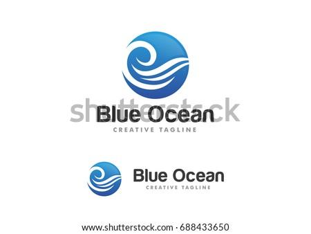 ocean wave logo template vector
