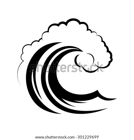 Ocean Wave On A White Background Stock Vector Illustration ...