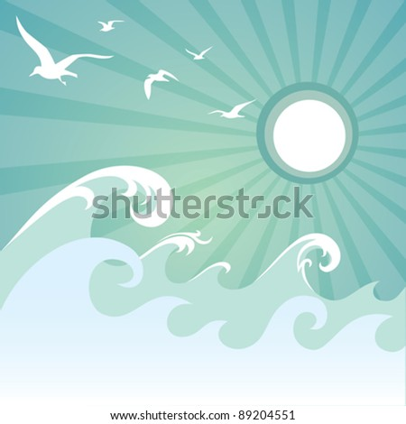 Ocean waves and seagulls background.