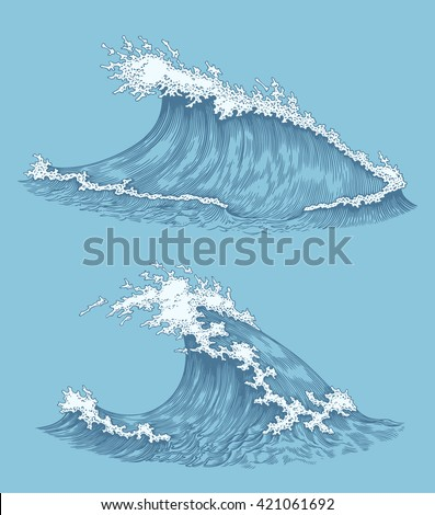 ocean waves design set hand