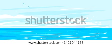 Ocean waves nature background illustration, sea waves in calm sunny weather with splashes and foam, panorama of open deep sea ocean with flying birds on sky