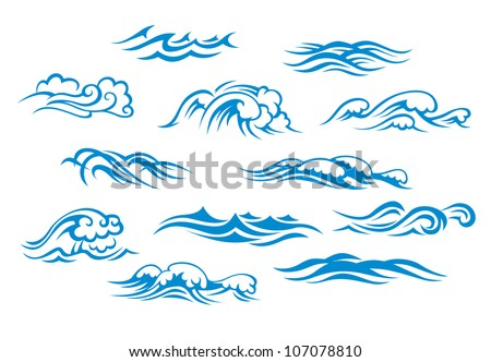 Ocean waves set isolated on white background, such emblem or logo template. Jpeg version also available in gallery
