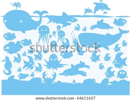 Ocean wildlife blue on light blue vector silhouette collection