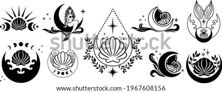 Ocean Witchy Magic illustrations. Sea and ocean witch symbols. Seashell, mermaid, seahorse, octopus under the sea life. Water goddess set tattoo logo design