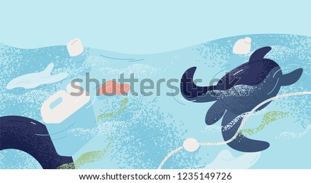 Ocean with aquatic animals and plastic garbage floating in water. Environmental issue or ecology problem of marine pollution, rubbish in sea. Colorful vector illustration in flat cartoon style.