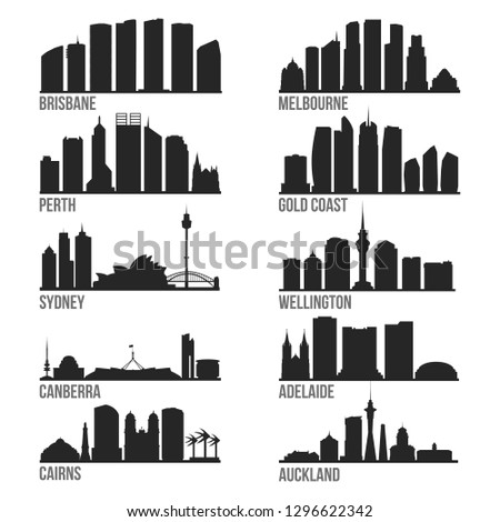 Oceania Cities Most Famous Skyline City Silhouette Design Collection Set Pack