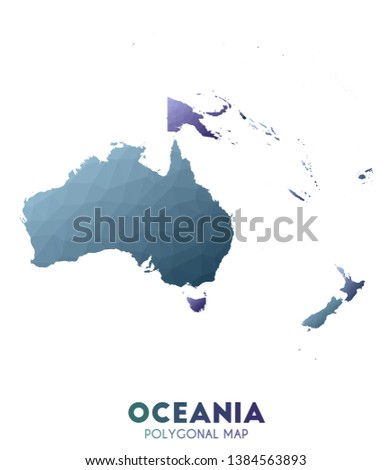 Oceania Map. actual low poly style continent map. Wondrous vector illustration.