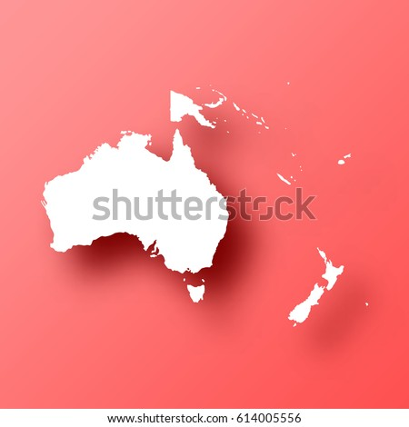 Oceania Map isolated on red background with shadow. High detailed vector map.  Template for your design, website, infographic, brochure, cover, business annual report,...