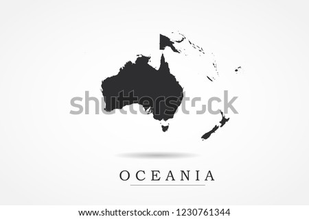 Oceania Map- World Map International vector template with black color isolated on white background - Vector illustration eps 10