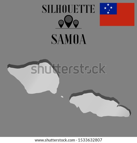 Oceanian Island Samoa outline world map silhouette vector illustration, creative design background, national country flag, objects, element, symbols from countries all continents set.