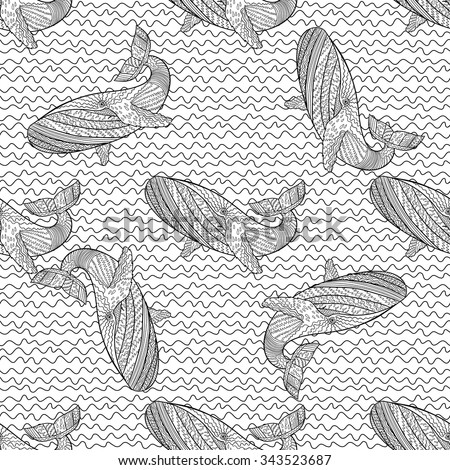 Oceanic animal zentangle seamless pattern hand drawn tile for Zentangle tile template