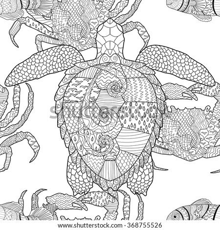 zentangle tile template - oceanic animals zentangle seamless pattern hand drawn