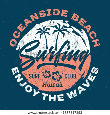 Oceanside Beach Surfing - Aged Tee Design For Printing