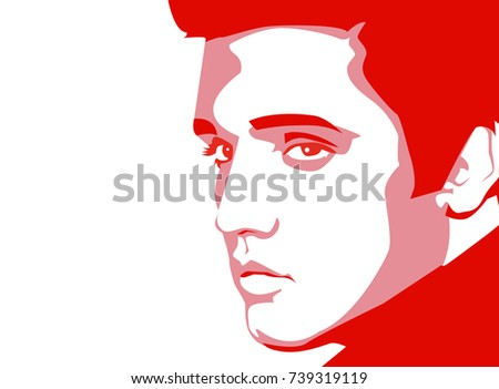 Oct, 2017: A vector red linear portrait illustration of a famous singer Elvis Presley on a white background.