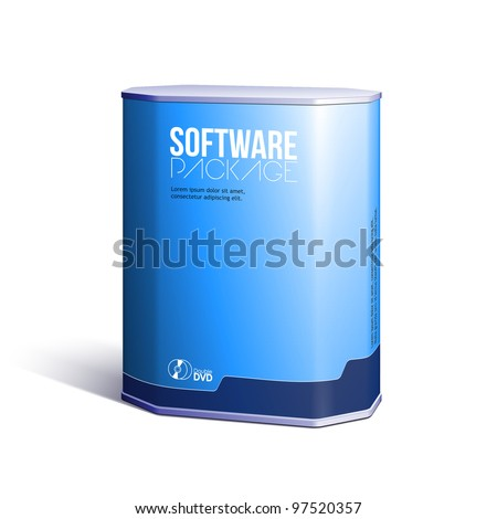 Octagon Plastic Software DVD/CD Disk Package Box Blue: EPS10