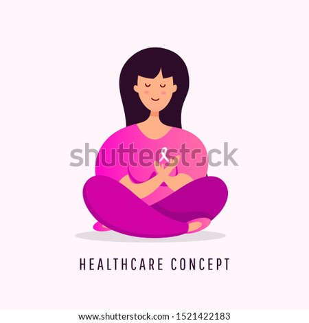 October breast cancer awareness month poster background concept. Young girl sitting in lotus position with pink ribbon