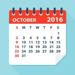 October 2016 calendar - Illustration
