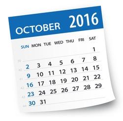 October 2016 calendar leaf - Illustration