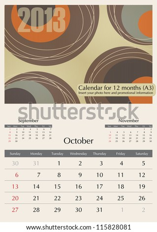 October. 2013 Calendar. Optima fonts used. A3