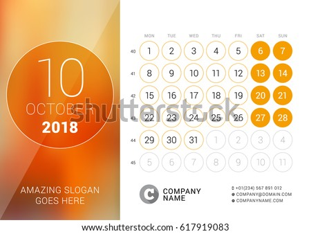 october 2018 desk calendar for 2018 year vector design print template with place for