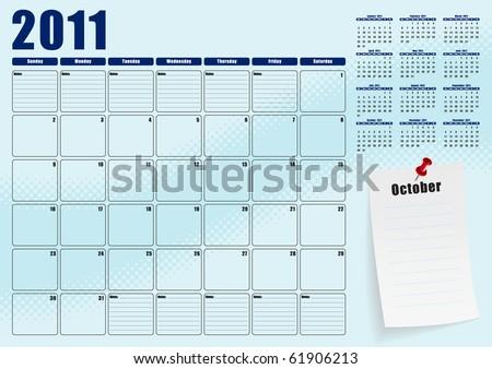 October desk planner for 2011