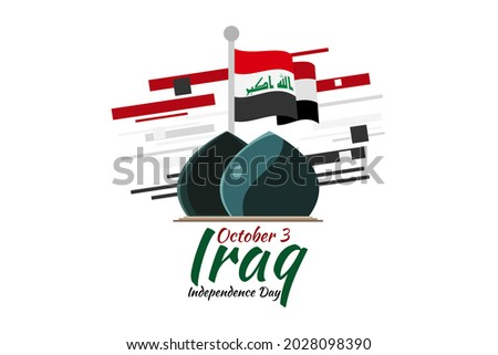 October 3, Happy Iraq National Day Vector illustration. Suitable for greeting card, poster and banner.