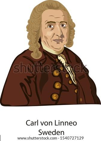 October 24, 2019, Illustration vector isolated of Carl von Linneo, (Carlos Linneo), Sweden.