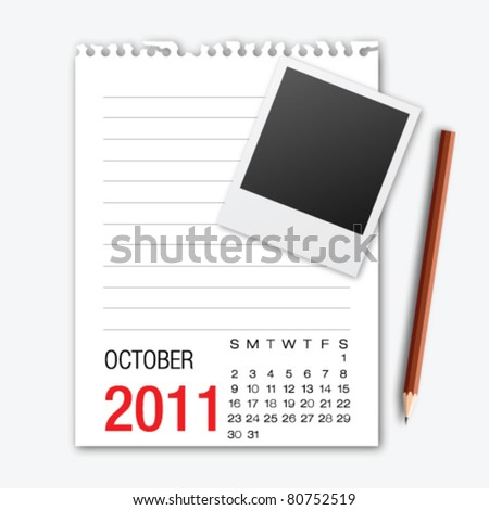 October month calendar note paper with pencil