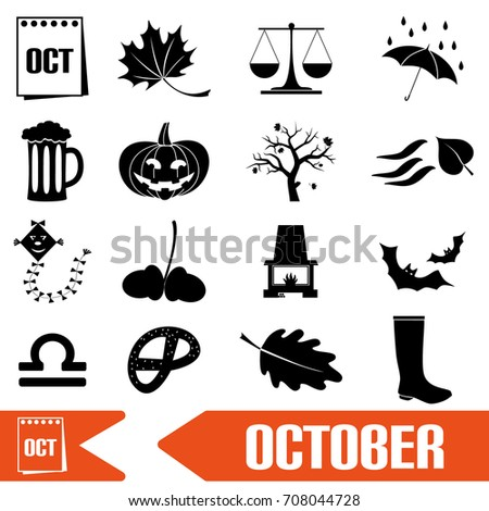 october month theme set of simple icons eps10