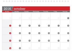 October 2016 planning calendar