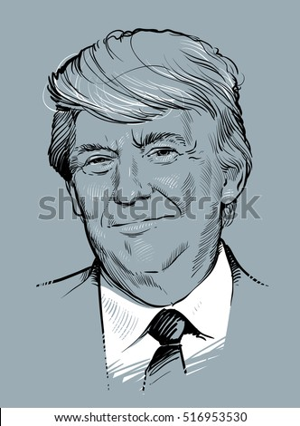 October 30, 2016: Portrait of Donald Trump. Vector illustration .eps10. Editorial use only
