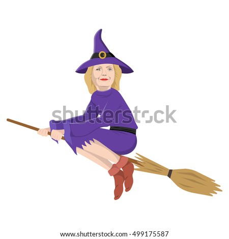 October 16: the USA presidential candidate Hillary Clinton in witch character. Halloween celebration topic.
