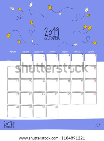 October 2019 wall calendar. Colorful sketch vertical template.Letter size