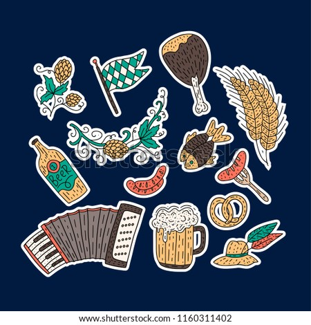 GroBartig Octoberfest Beer Festival Doodle Hand Drawn Set. Vector Illustration.  Octoberfest Color Festival Icons.