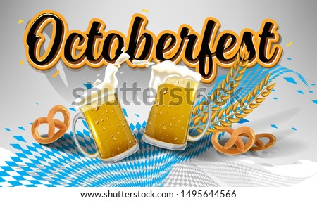 Octoberfest festival symbols. Full glass of beer with foam, pretzel loaf and wheat ears for october fest holiday, on yellow background. Gradient mesh used. octoberfest Beer pub vector illustration.