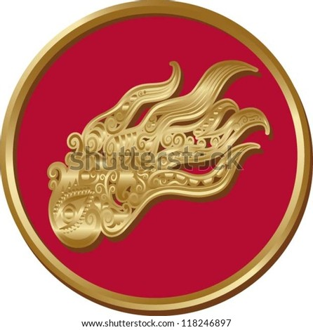 Octopus coin.  Animal with golden floral ornament decoration. Use for pendant or any design you want.