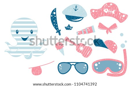 Octopus cute set. Sea fanny boy character with sword, pirate cocked hat, eyecup, ice cream, cap, sunglasses, snorkeling mask, guitar, paper boat and sailor spyglass. Cool illustration for t-shirt