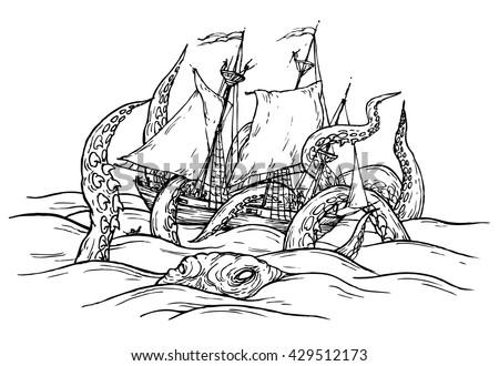 octopus drowning ship   hand