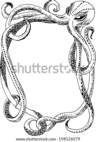 octopus frame monster vector