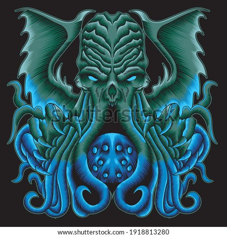 octopus illustration in neon