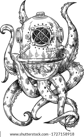 octopus in a old diving helmet