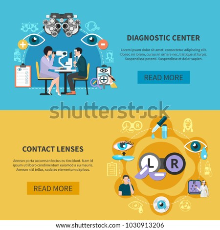 Oculist 2 horizontal banners webpage design with optometric diagnostic and contact lenses use care information vector illustration